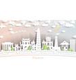 hanoi vietnam city skyline in paper cut style vector image vector image