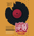hip hop poster template design with a broken vinyl vector image vector image