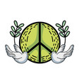 hippie emblem with doves and branches design vector image vector image