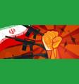 hongkong flag and hand fist fight warfare country vector image vector image