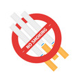 isolated sign of stop smoking cigarette vector image vector image