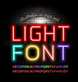 light neon fonts on brick wall background vector image vector image