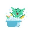 Little Anime Style Baby Dragon Enjoying Bubble vector image vector image