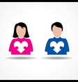 Male and Female icon having their hearts vector image vector image