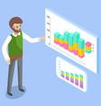 man studies demand indicators on presentation vector image vector image