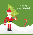 merry christmas santa pine tree vector image
