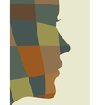 mosaic woman profile vector image vector image