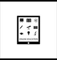 Online education solid icon set e-learning vector image
