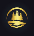 pine tree mountain hill gold logo vector image vector image