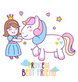 princess best friend with horse cute vector image vector image