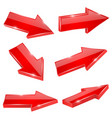 red arrows set shiny straight 3d icons vector image vector image