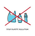 say no to plastic sign doodle design vector image vector image