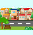 scene with houses and road vector image