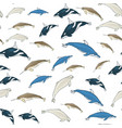seamless background of cartoon whales vector image vector image
