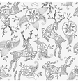 Seamless pattern with running deer flying and vector image vector image