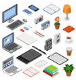 set isometric icons equipment and office vector image vector image