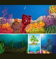 set underwater scene vector image vector image