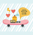 skateboard sport with youth accessories vector image vector image