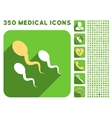 Sperm Icon and Medical Longshadow Icon Set vector image vector image