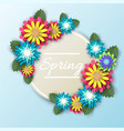 spring floral round frame paper cut vector image