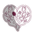 sticker leaves in form of heart with spoon fork vector image vector image