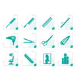 stylized hairdressing coiffure and make-up icons vector image