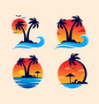 sunset beach logo design vector image vector image