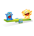 Two monsters playing happily vector image vector image