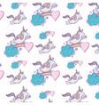 unicorn cloud and rainbow background cartoon vector image