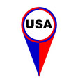 usa map pointer location flag vector image vector image