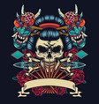 vintage japanese tattoo style colorful template vector image vector image