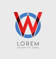 wo logo letters with blue and red gradation vector image vector image