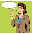 Woman point finger gesture pop art vector image vector image
