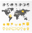 World map 3D with set of infographics elements vector image