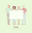 young men and women standing together friends vector image