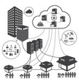 big data icons set cloud computing and network vector image