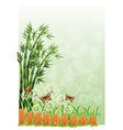 A stationery with bamboos and butterflies vector image vector image