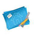 apartment house plan blueprint with front view vector image vector image