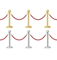 Barrier rope gold and silver vector image vector image