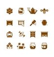 Bee hive honey honeycomb icons vector image vector image