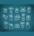 big collection doodle gift boxes hand drawn vector image vector image