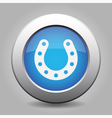 blue metal button - horseshoe with holes vector image