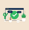 browser web site check mark approve icon simple vector image