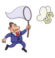 businessman trying to catch a dollar sign vector image vector image