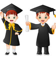 cartoon happy kid in graduation costume vector image vector image