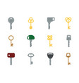 cartoon keys colored flat different shapes keys vector image