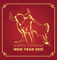 chinese new year 2021 year cow vector image vector image