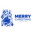 christmas and new year blue nordic bird card vector image vector image
