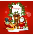 Christmas greeting card with Santa and gift vector image vector image