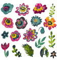 collection plants and flowers with hand vector image vector image